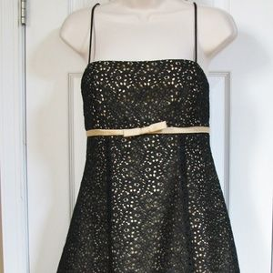 Betsy & Adam Black Lace Overlay Gold Party Dress
